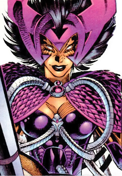 Deathbird of the Shi'ar (X-Men enemy) (recent Marvel Comics) pink and violet armor closeup