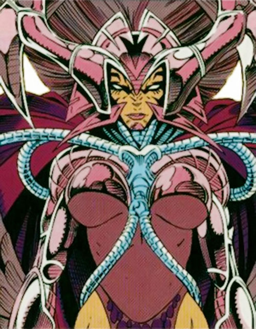 Deathbird of the Shi'ar (X-Men enemy) (recent Marvel Comics) with a Kirbyesque helmet