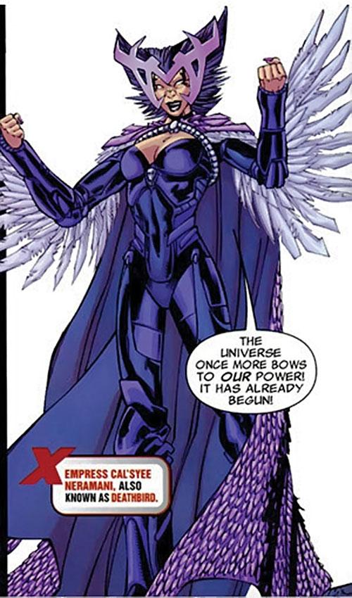 Deathbird of the Shi'ar (X-Men enemy) (recent Marvel Comics) triumphant
