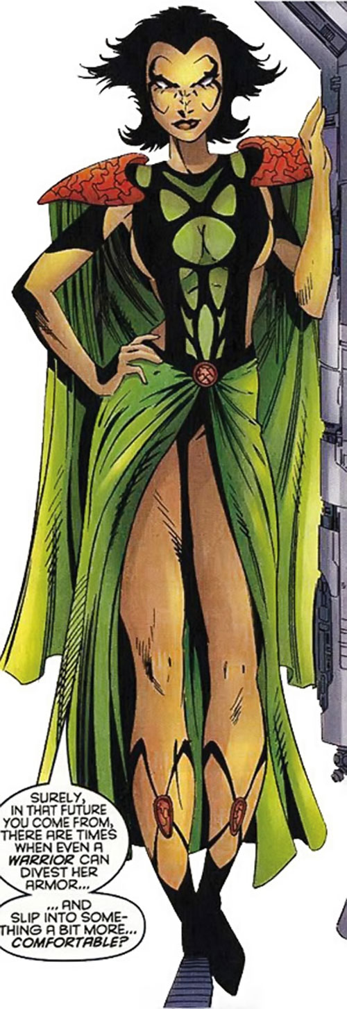 Deathbird of the Shi'ar (X-Men enemy) (recent Marvel Comics) in a dishabille