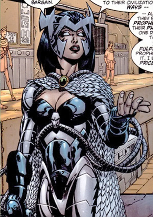 Deathbird of the Shi'ar (X-Men enemy) (recent Marvel Comics) in gray armor