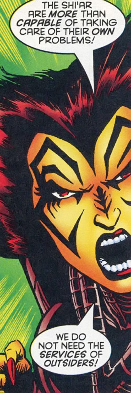 Deathbird of the Shi'ar (X-Men enemy) (recent Marvel Comics) screaming face closeup