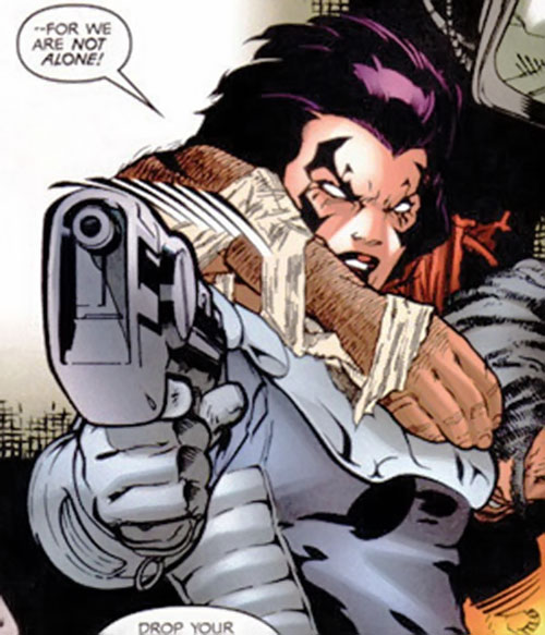 Deathbird of the Shi'ar (X-Men enemy) (recent Marvel Comics) pointing a pistol