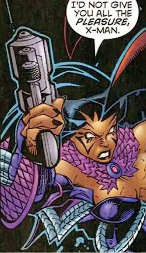Deathbird of the Shi'ar (X-Men enemy) (recent Marvel Comics) brandishing a pistol