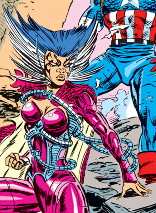 Deathbird of the Shi'ar (X-Men enemy) (recent Marvel Comics) and Captain America