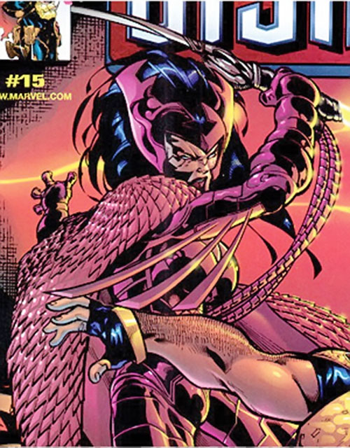 Deathbird of the Shi'ar (X-Men enemy) (recent Marvel Comics) with a power sword