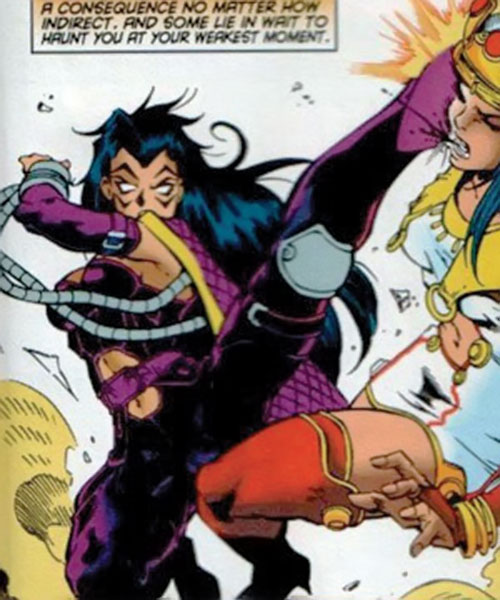 Deathbird of the Shi'ar (X-Men enemy) (recent Marvel Comics) knows kung-fu