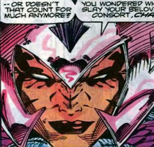 Deathbird of the Shi'ar (X-Men enemy) (recent Marvel Comics) grim face closeup