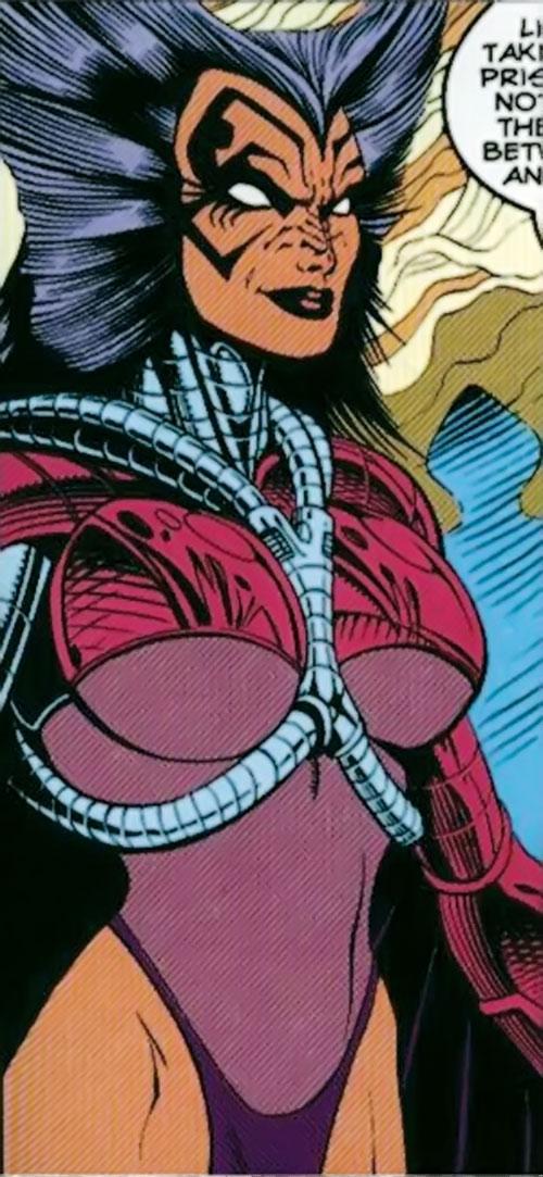Deathbird of the Shi'ar (X-Men enemy) (recent Marvel Comics) smirking