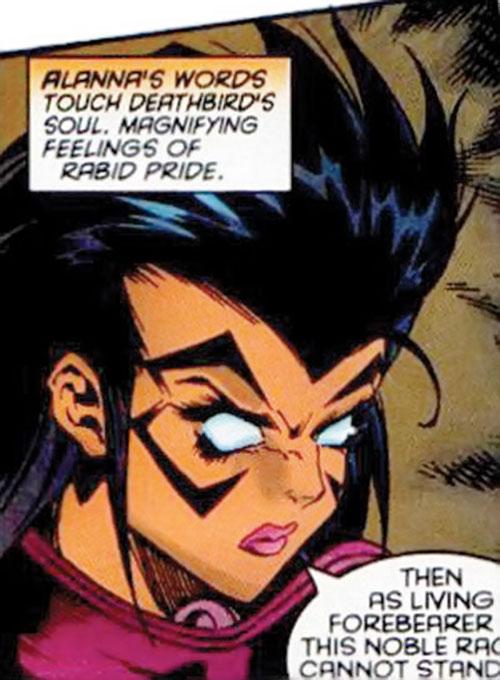 Deathbird of the Shi'ar (X-Men enemy) (recent Marvel Comics) manga face closeup