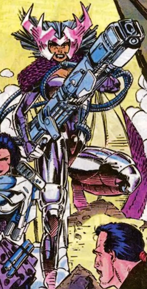 Deathbird of the Shi'ar (X-Men enemy) (recent Marvel Comics) with a big gun
