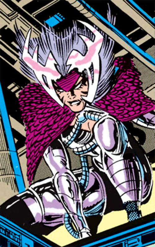Deathbird of the Shi'ar (X-Men enemy) (recent Marvel Comics) sneaking among the rafters