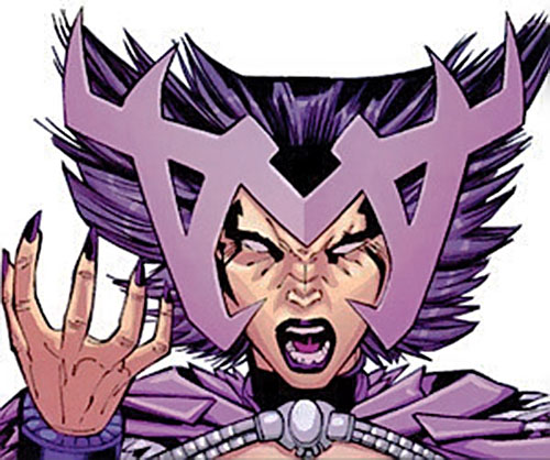Deathbird of the Shi'ar (X-Men enemy) (recent Marvel Comics) with fantasy space headgear