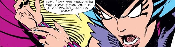Deathbird draws one her weapons