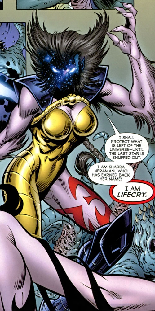 Deathcry of the Avengers (Marvel Comics) as Lifecry with starfield face