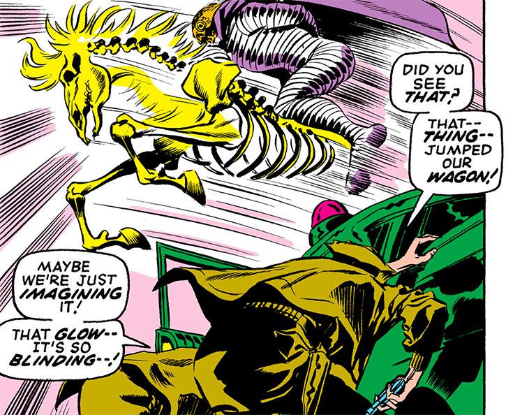 Death's Head (Daredevil enemy) skeleton horse jumps a car