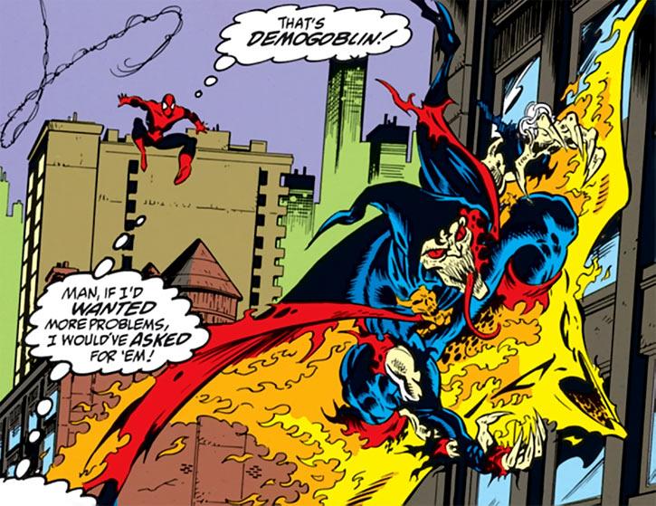 The Demogoblin flies past Spider-Man