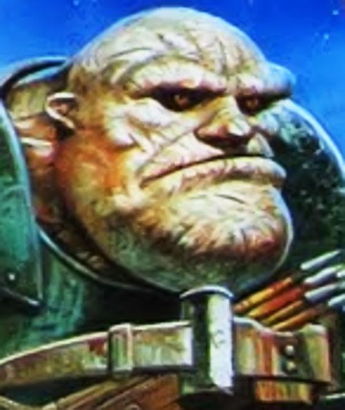 Detritus the troll (Pratchett's Discworld watch) face closeup