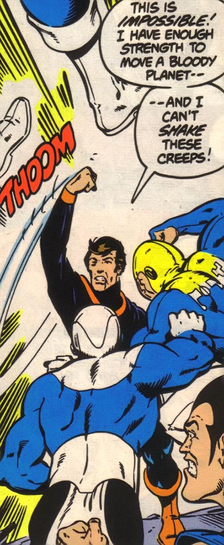 Dev-Em (Legion of Super-Heroes) (DC Comics) fights soldiers