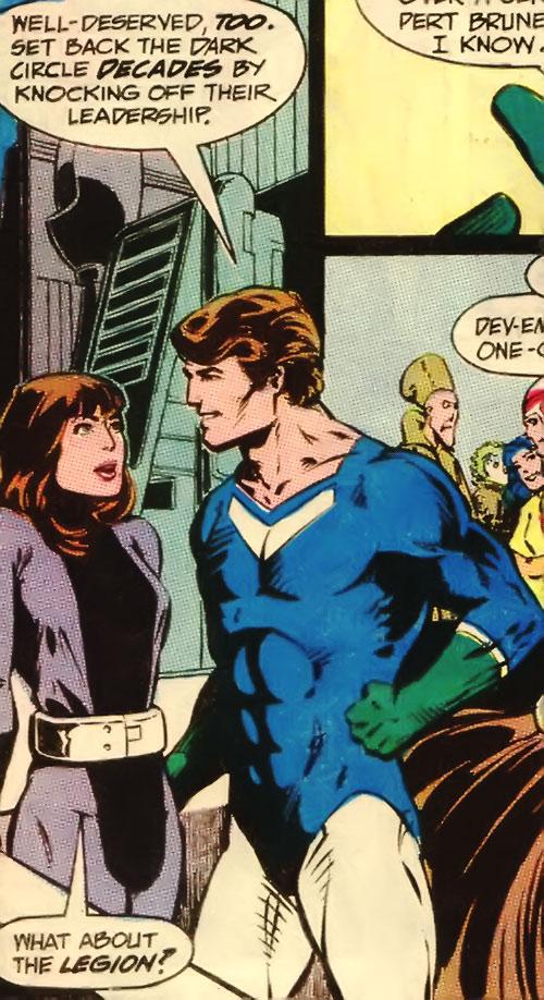 Dev-Em (Legion of Super-Heroes) (DC Comics) blue and white costume