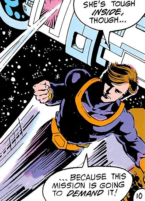 Dev-Em (Legion of Super-Heroes) (DC Comics) flying in space