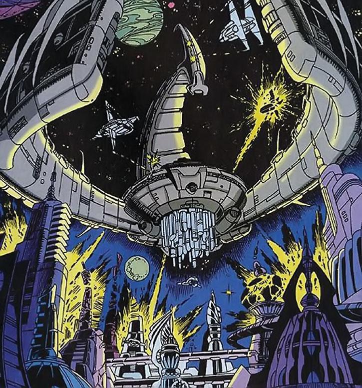 Devos the Devastator's deathcruiser attacks the Skrulls
