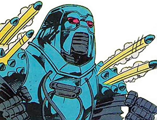 Devos the Devastator (Marvel Comics) launching mini-projectiles from his shoulders