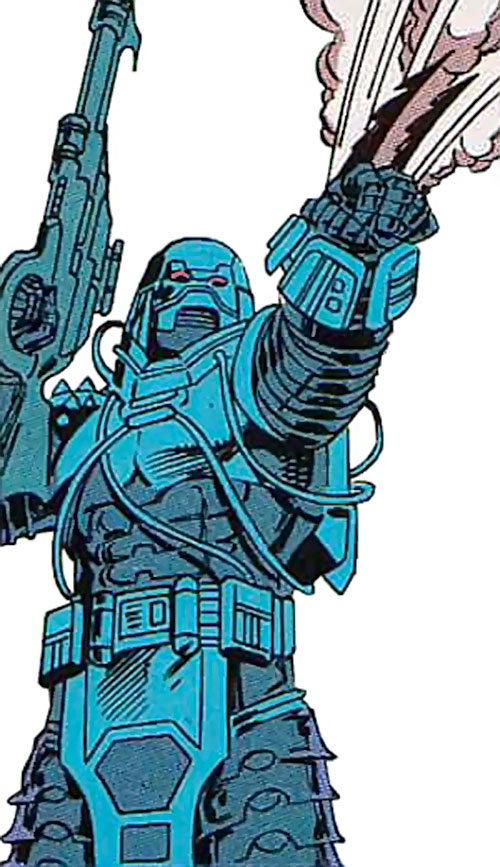Devos the Devastator (Marvel Comics) shooting a blast of combat gas