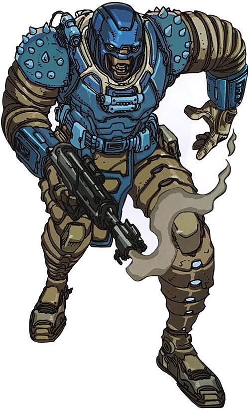 Devos the Devastator (Marvel Comics) with a smoking blaster
