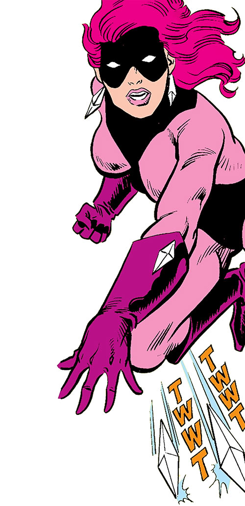 Diamondback (Rachel Leighton) (Captain America ally) (Marvel Comics) Classic throwing 2 diamonds