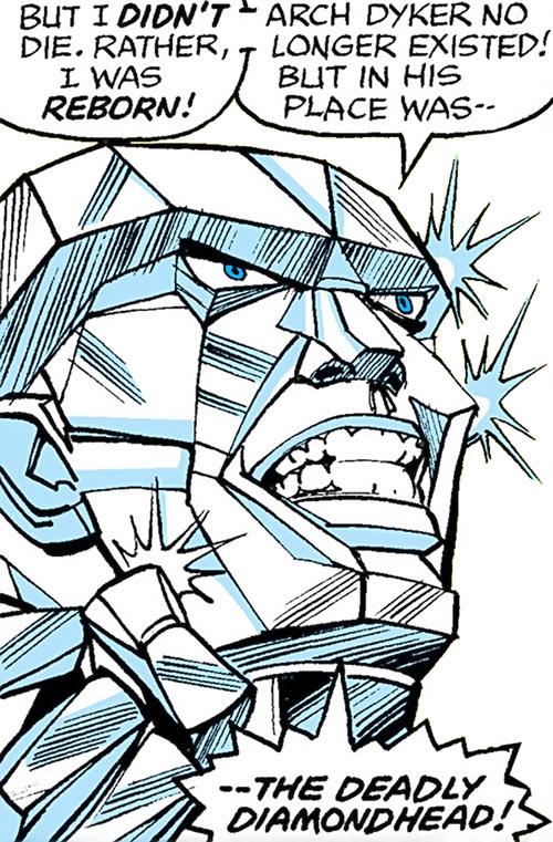 Diamondhead (Nova enemy) (Marvel Comics) face closeup