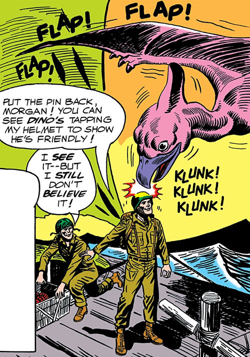 Dino the baby pterosaur (DC Comics) (War that Time Forgot) rapping on a steel helmet