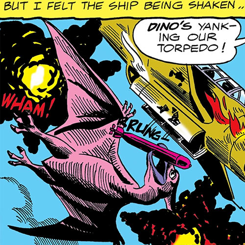Dino the baby pterosaur (DC Comics) (War that Time Forgot) grabs a torpedo with his beak
