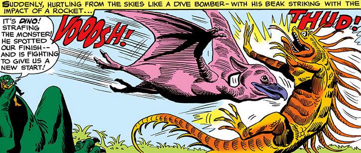 Dino knocks down a giant reptile
