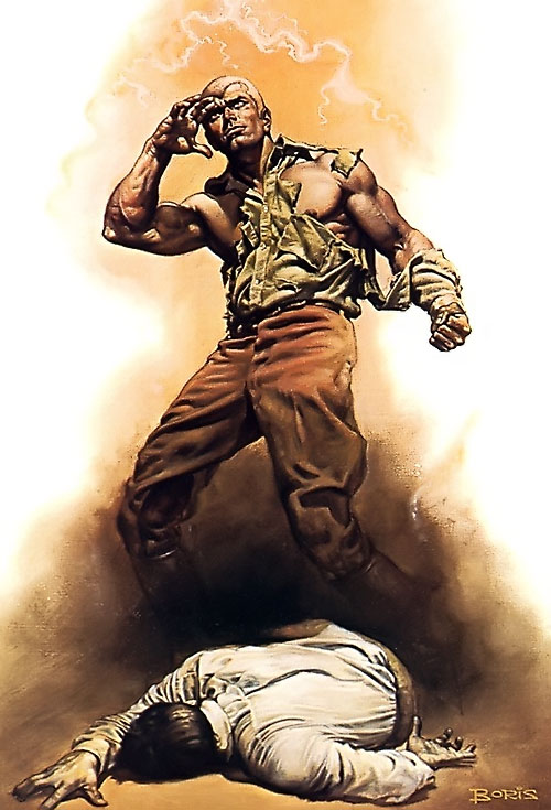 Doc Savage stands above an unconscious man, by Boris Vallejo
