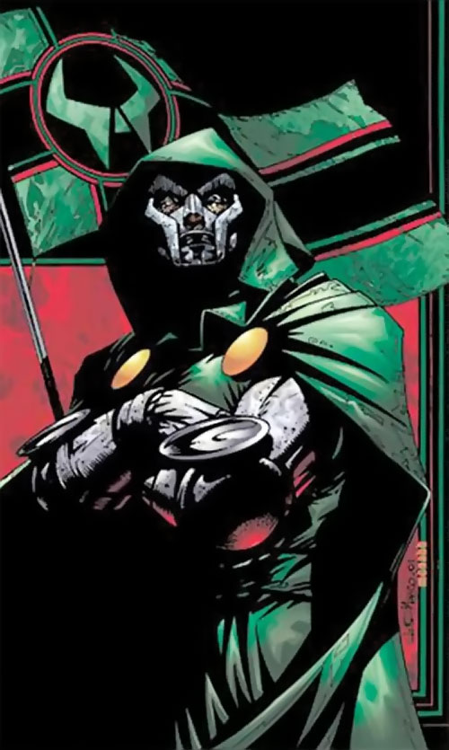 Doctor Doom (Fantastic 4 enemy) (Marvel Comics) and a Latverian flag