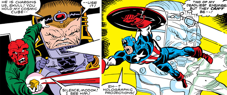 Holograms of the Red Skull and MODOK used by Doctor Faustus against Captain America