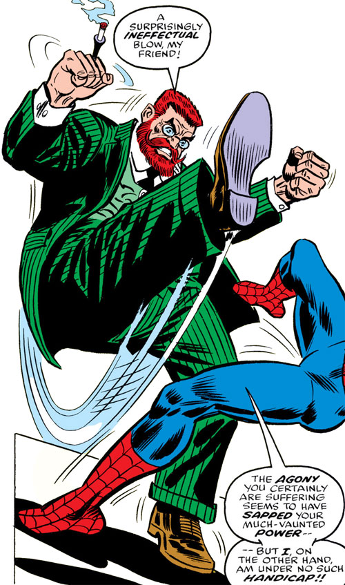 Doctor Faustus kicks Spider-Man in the face