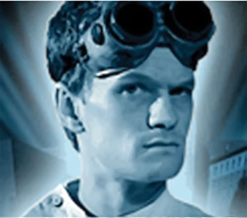 Doctor Horrible (Neil Patrick Harris) face closeup in blue lighting