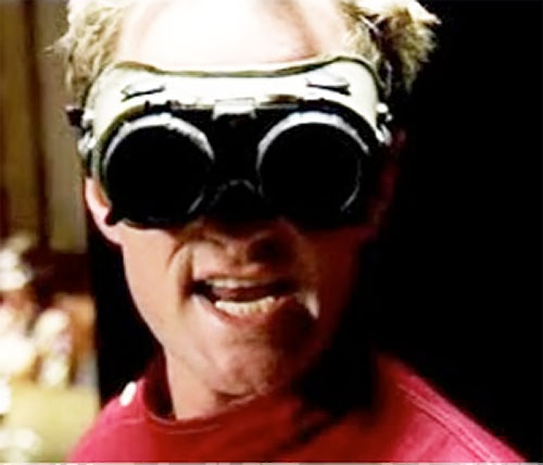 Doctor Horrible (Neil Patrick Harris) in red with goggles on
