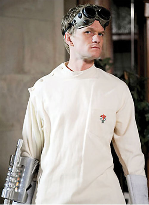 Doctor Horrible (Neil Patrick Harris) in white with a forearm-mounted weapon