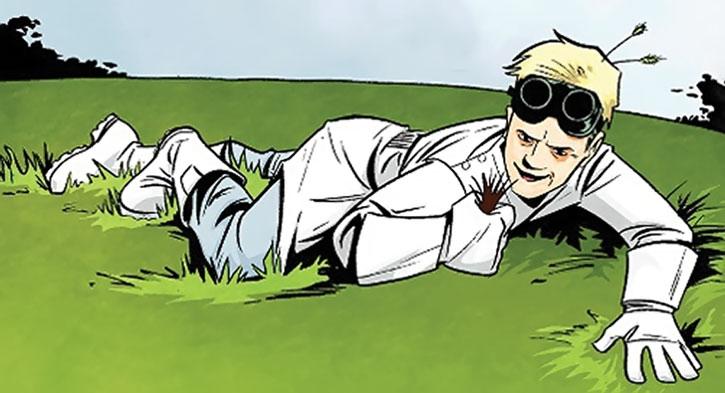 Doctor Horrible grabbing innocent grass