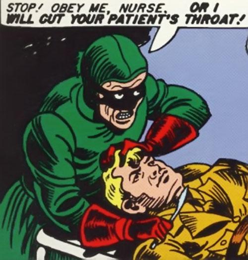 Princess Maru (Doctor Poison) (Wonder Woman enemy) (DC Comics) threatening Steve Trevor with a scalpel