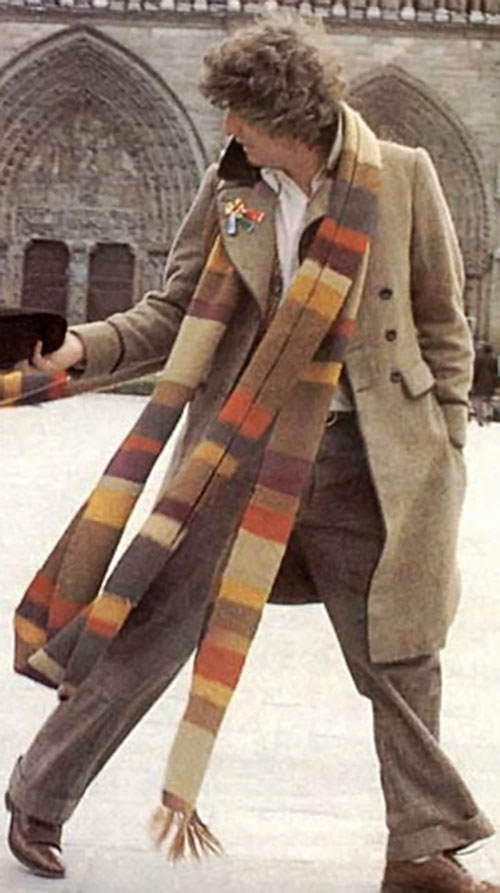 Doctor Who (4th regeneration) (Tom Baker) with his scarf to the wind