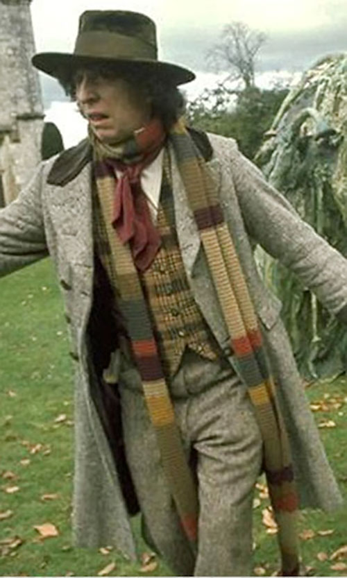 Doctor Who (4th regeneration) (Tom Baker) running away in the grass