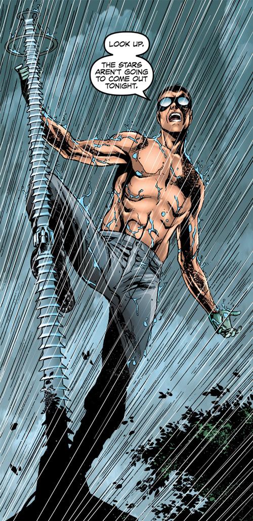Doktor Sleepless (Ellis Avatar Comics) shirtless under rain climbing lightning rod