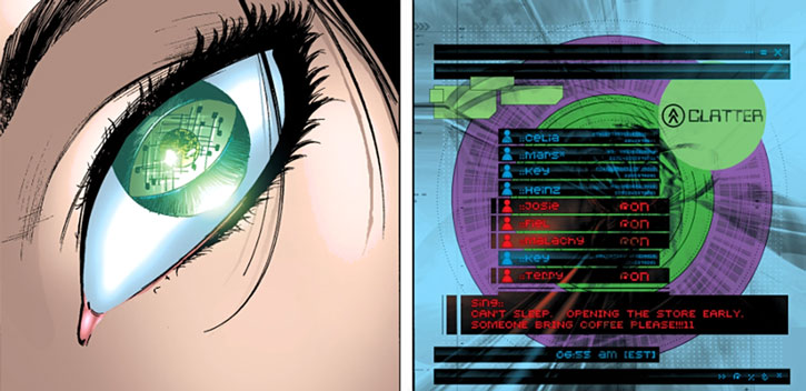 Doktor Sleepless (Ellis Avatar Comics) HUD contact lens social network