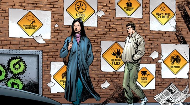 Doktor Sleepless (Ellis Avatar Comics) signs plastered on a wall