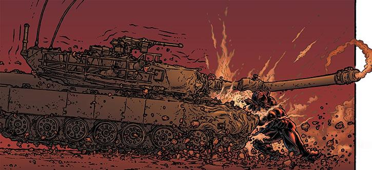 Dominic Atlas stops a tank