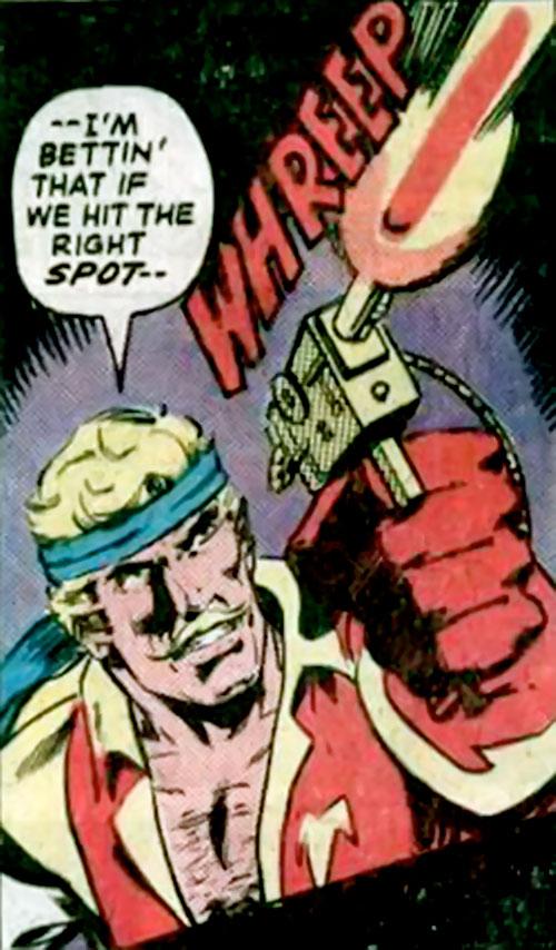 Donovan Flint of the Star Hunters (DC Comics) firing his blaster